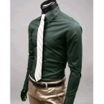 Мъжка риза – маслено зелена Slim Stylish M-L